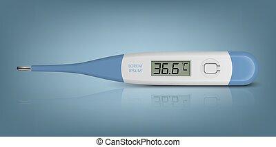 blå, elektronisk, 3, digital, realistisk, synhåll, mall, bakgrund., vektor, °c, visande, främre del, design, temperature., medicinsk, 36.6., närbild, termometer, mätning, ikon
