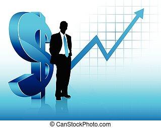 blå, finansiell succé, visande, tema, affärsman, silhuett