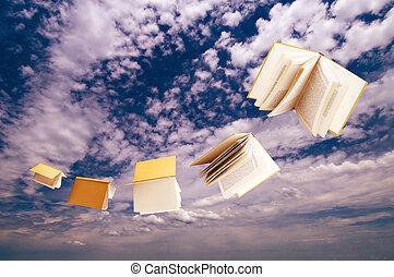 blå, flygning, sky, böcker, bakgrund, flock