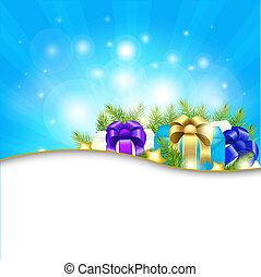 blå, gåva, bakgrund, sunburst