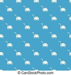 blå, gräsmatta, mönster, seamless, slåttermaskin, maskin, vektor