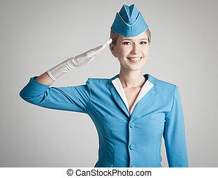 blå, grå, klätt, likformig, stewardess, bakgrund, förtjusande