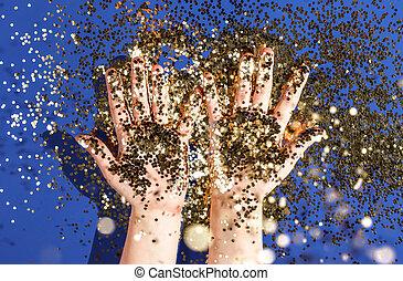 blå, guld, topp, räcker, födelsedag, bakgrund, barn, konfetti, utsikt., helgdag, glittrande