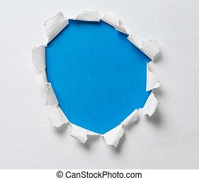 blå, hål, trasig tidning, bakgrund