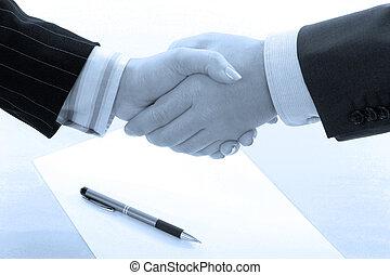 blå, handslag, tonen, furu, affär