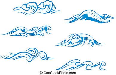 blå, hav, vågor