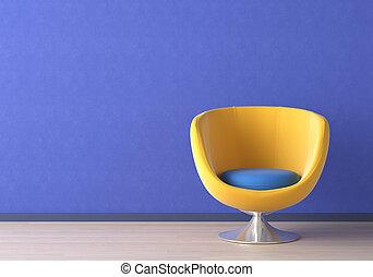 blå, inre, stol, design, gul