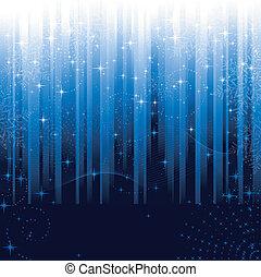 blå, ivrig, snöflingor, festlig, mönster, themes., eller, bakgrund., stjärnor, randig, jul, vinter