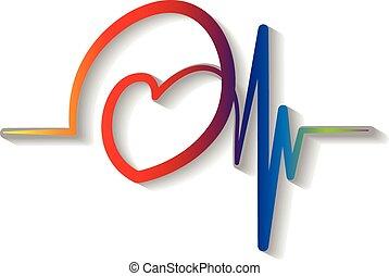 blå, kardiogram, logo, vektor, röd