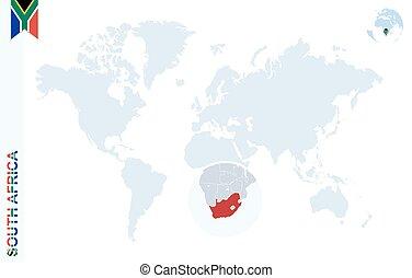 blå, karta, afrika., värld, förstorar, syd