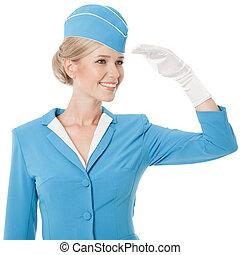 blå, klätt, likformig, stewardess, bakgrund, vit, förtjusande