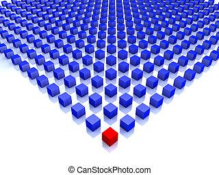 blå, kuben, en, fält, hörna, röd