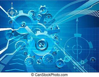 blå, kuggar, bakgrund, utrustar, affär