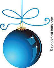 blå kula, jul, vektor, block