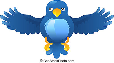 blå, kvittrande, ing, fågel, ikon