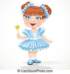 blå, litet, tutu, balett, flicka