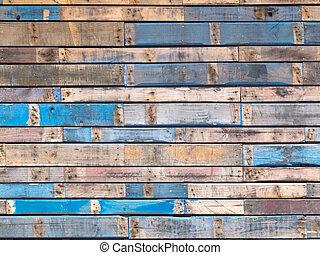 blå, målad, växelspår, ved, yttre, grungy, plankor