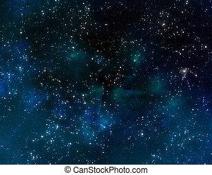 blå, nebulosa, skyn, utrymme
