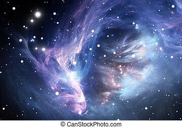 blå, nebulosa, utrymme