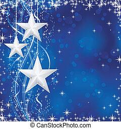 blå, pricken, stjärnor, occasions., vinter, transparencies., lätt, festlig, fodrar, snö, /, jul, vågig, flingor, nej, bakgrund, din