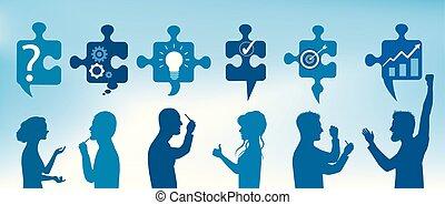 blå, profil, begrepp, service., affärsfolk, färg, problem, lösande problem, lösning, styckena, symboler, solution., team., klient, gesticulate., problem, strategi, success.