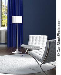 blå, rum, klassisk, stol, design, inre, vit