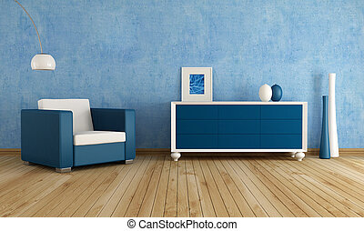 blå, rum, levande