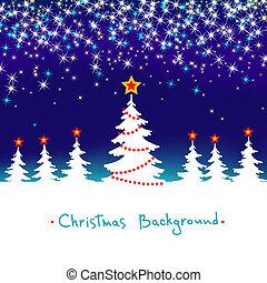 blå, säsongbetonad, vinter, abstrakt, träd, bakgrund, vektor, skog, stjärnor, vit jul