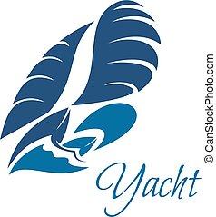 blå, segling, klubba, yacht, vektor, vågor, ikon
