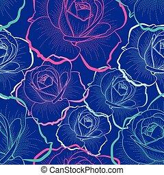 blå, skissera, färg, mönster, seamless, ro, vektor, bakgrund