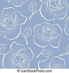 blå, skissera, mönster, seamless, ro, vit