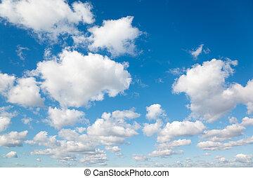 blå, skyn, sky., silkesfin, clouds., bakgrund, vit