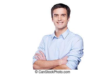 blå, stående, hålla, skjorta, businessman., ung, isolerat, se, tillitsfull, medan, kamera, korsat beväpnar, stående, vit, man, stilig