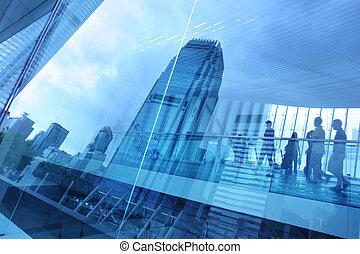 blå, stad, bakgrund, glas