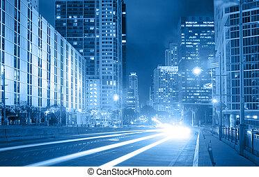 blå, stad, finansiell, florida, trafik, miami, foto, område, i centrum, brickell, genom, bearbetat, gripande, färg