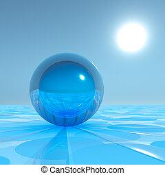 blå, surrealistisk, kristall, horisont, glob