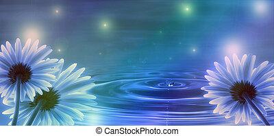 blå tåra, blomningen, bakgrund, vågor