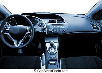 blå toned, bil, nymodig, inre, sport