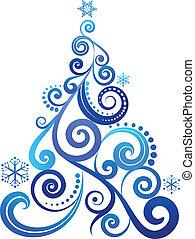 blå, träd, jul