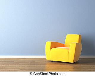 blå vägg, fåtölj, gul, design, inre