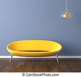 blå vägg, gul soffa, design, inre