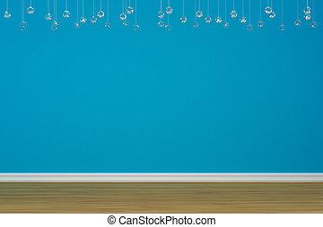 blå vägg, tom