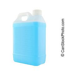 blå vätska, plastisk, bakgrund., gallon, vit, sida