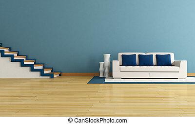 blå, vardagsrum