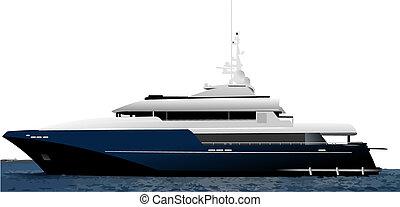 blå, vektor, illustration, ocean, yacht., svart