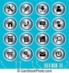 blå, websajt, sätta, ikonen