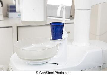 blåa glas, klinik, stol, tandläkare