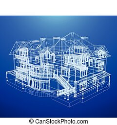 blåkopia, hus, arkitektur