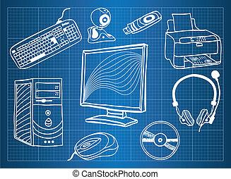 blåkopia, periferisk, -, enheter, järnvaror, dator
