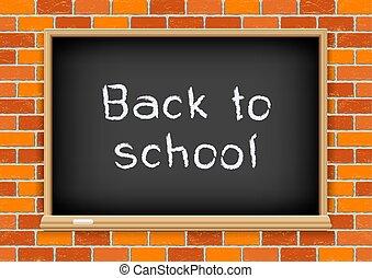 blackboard, skola, tegelsten, baksida